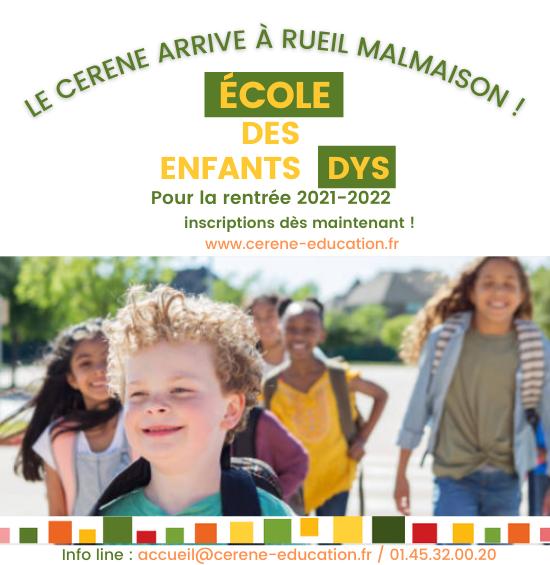 Le CERENE, école des enfants dys arrive à Rueil-Malmaison pour la rentrée 2021-2022 !